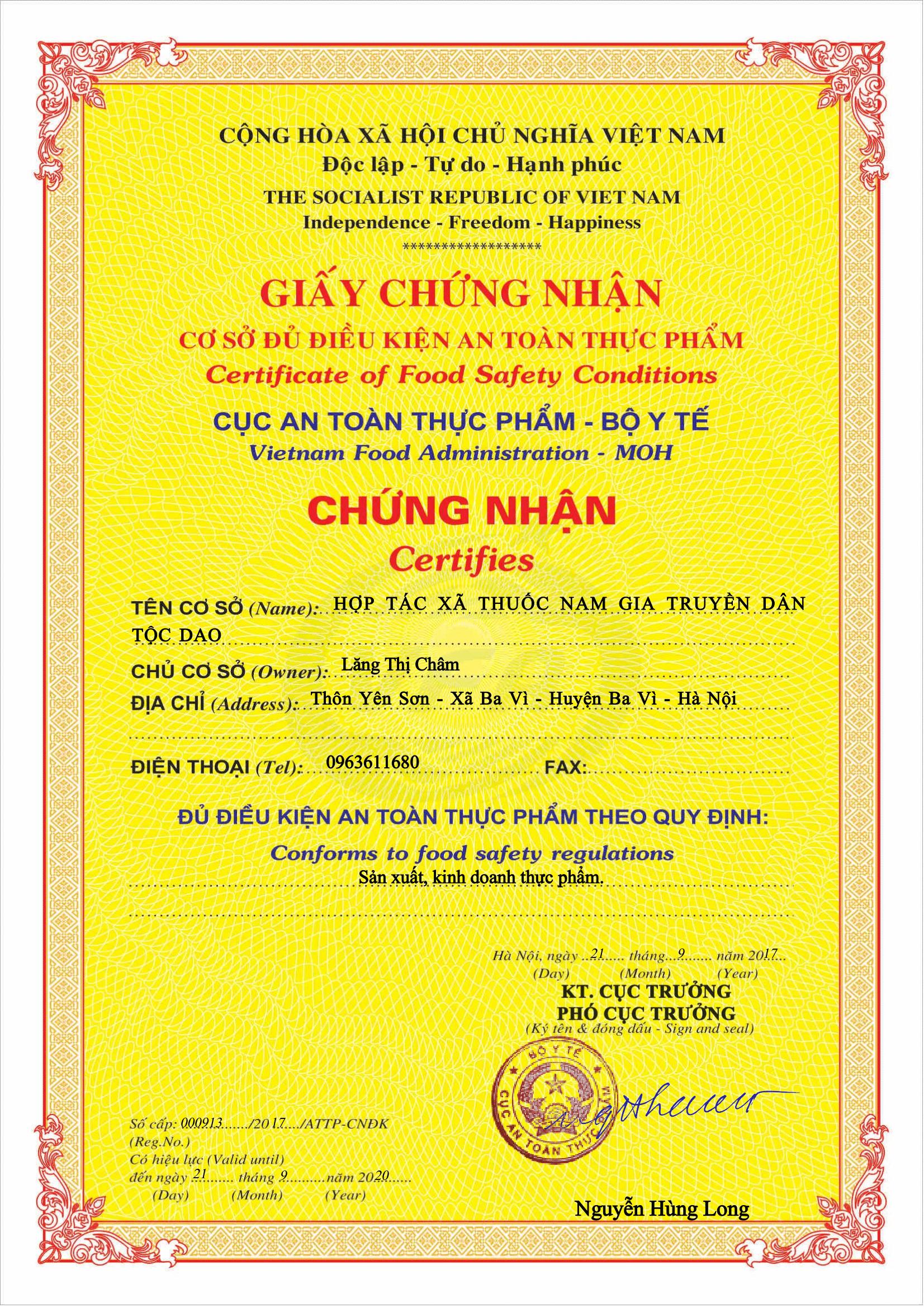 giấy chứng nhận sản phẩm phong tê thấp đạt chuẩn